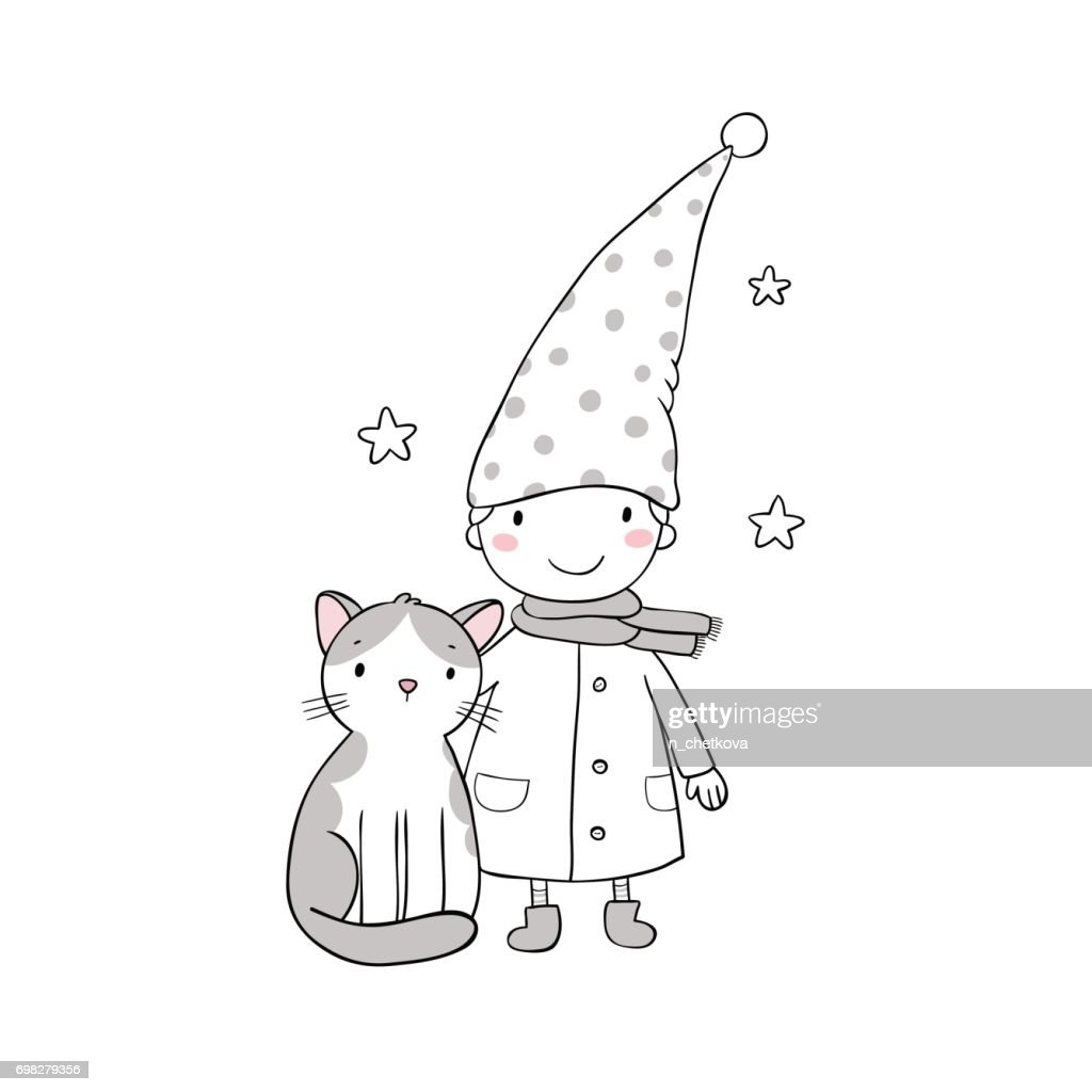A cute little gnome, a kitten and stars. Funny elves.