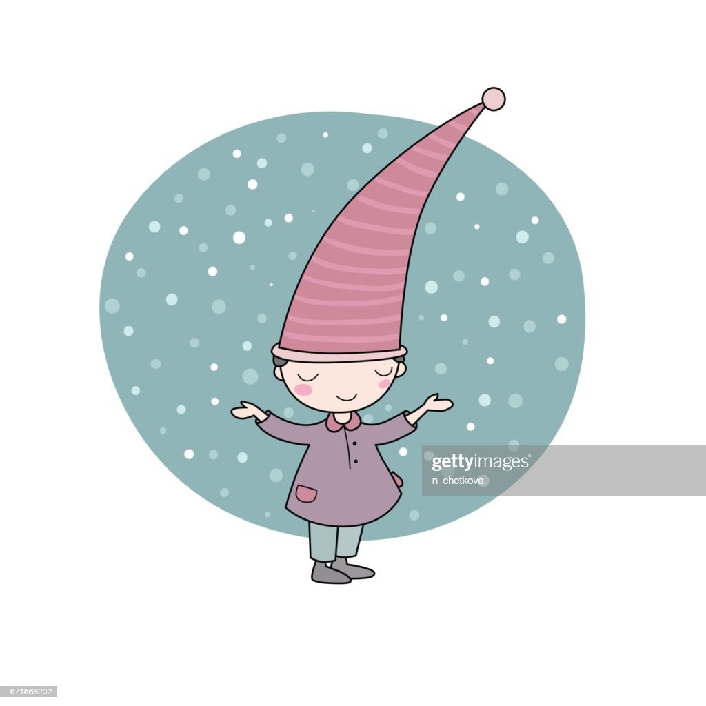 Cute little gnome. Elf and snow. isolated objects on white background.