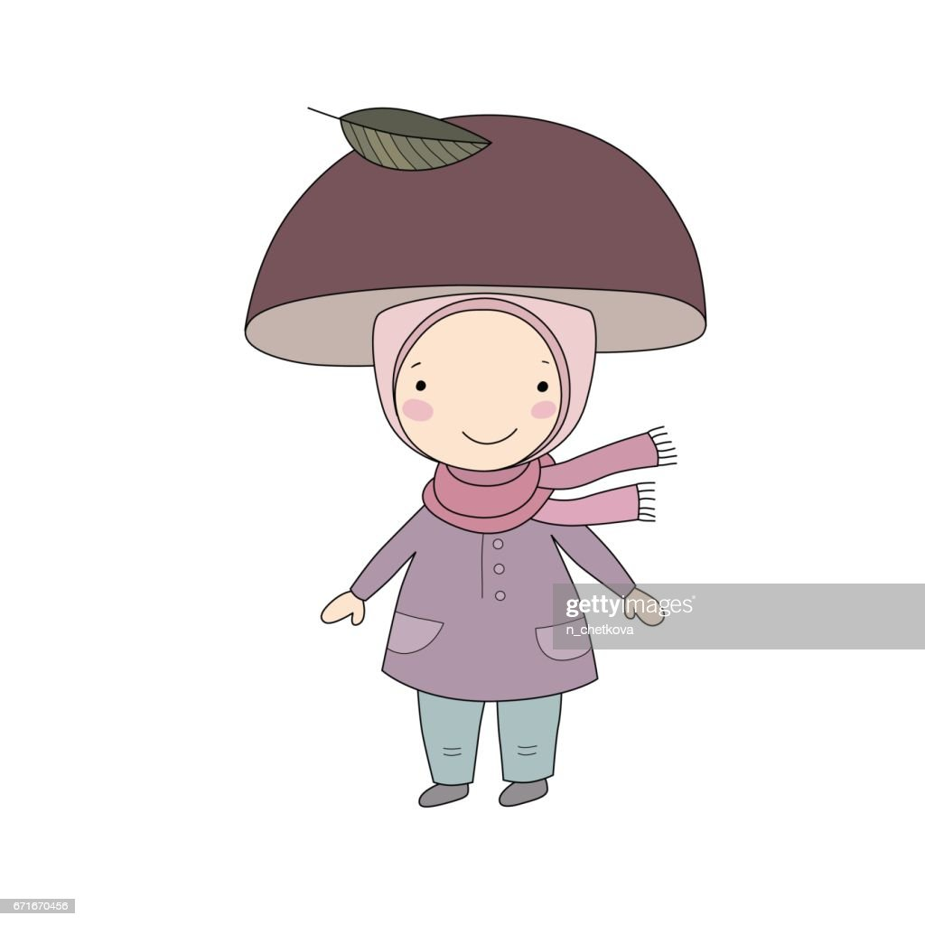 Cute little gnome mushroom. for children design.