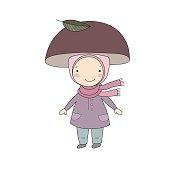 Cute little gnome mushroom. for children design.