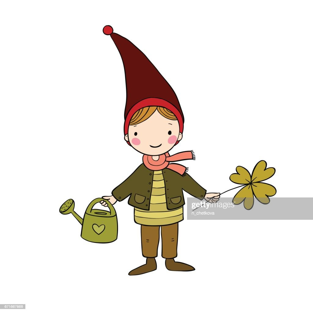 Cute little gnome with clover and watering. isolated objects on white background.