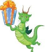 Cute little green dragon with a gift. Cartoon sketch