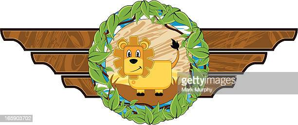 cute little lion plaque - animal mane stock illustrations, clip art, cartoons, & icons