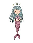 Cute little mermaid with heart. Siren. Sea theme. vector illustration