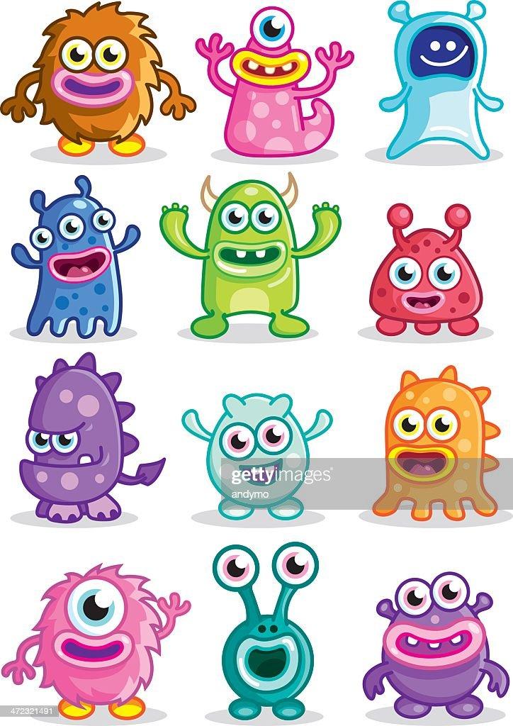 Cute Little monsters : stock illustration