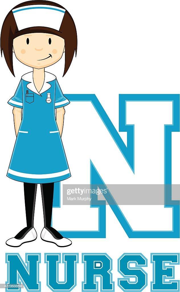 Cute Little Nurse Learning Letter N