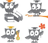 cute little owls icons with Academic Graduation Hat vector