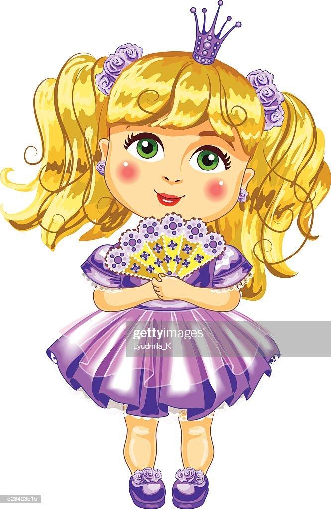 Cute little princess in a purple dress Vector.
