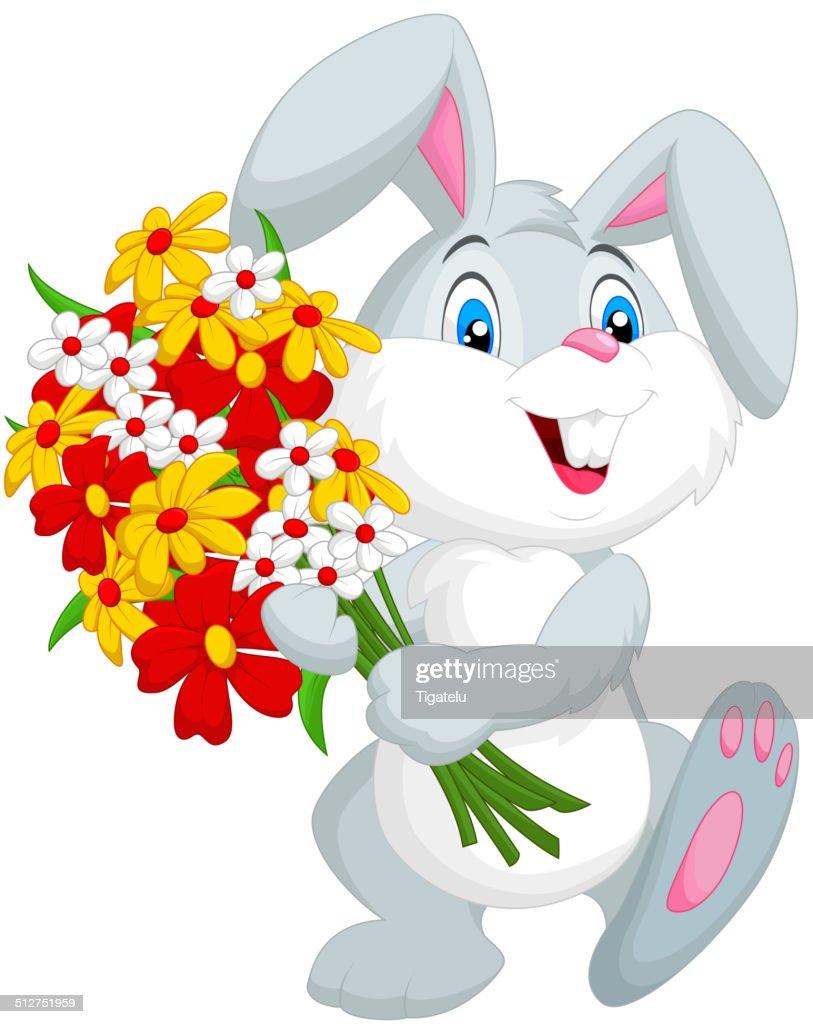 Cute little rabbit cartoon holding a bouquet