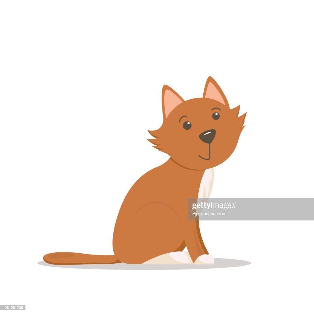 Cute little red cat, kitten sitting, side view cartoon illustration