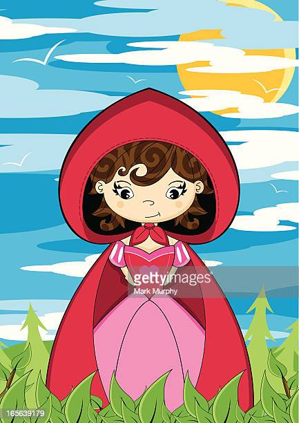 cute little red riding hood scene - little red riding hood stock illustrations, clip art, cartoons, & icons