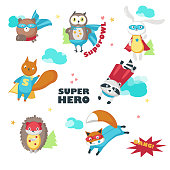 Cute little superhero animals vector isolated illustration