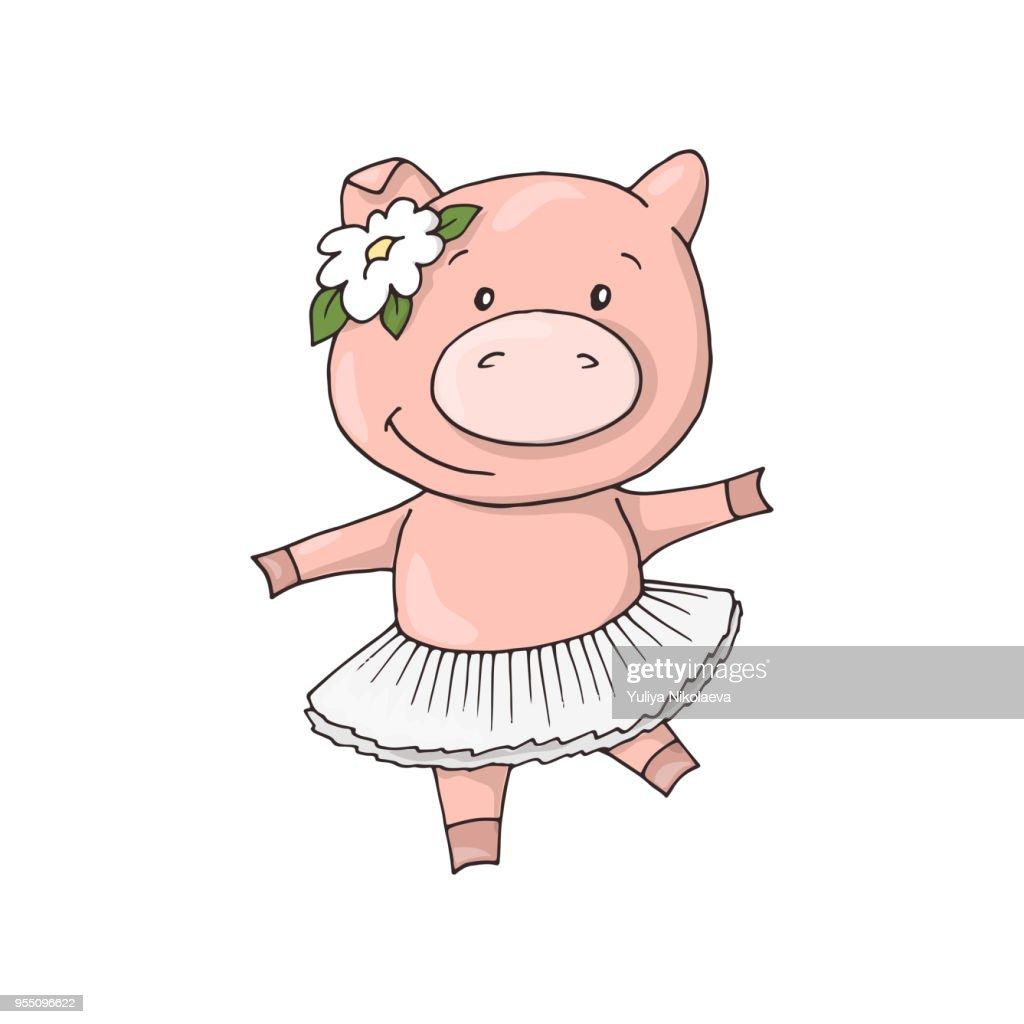 Cute little Sweet charming cartoon dancing girl piggy.