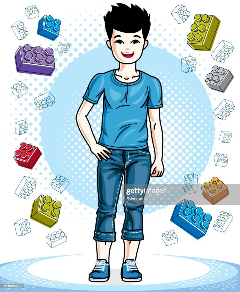 Cute little teen boy standing in stylish casual clothes. Vector beautiful human illustration. Fashion theme clipart.