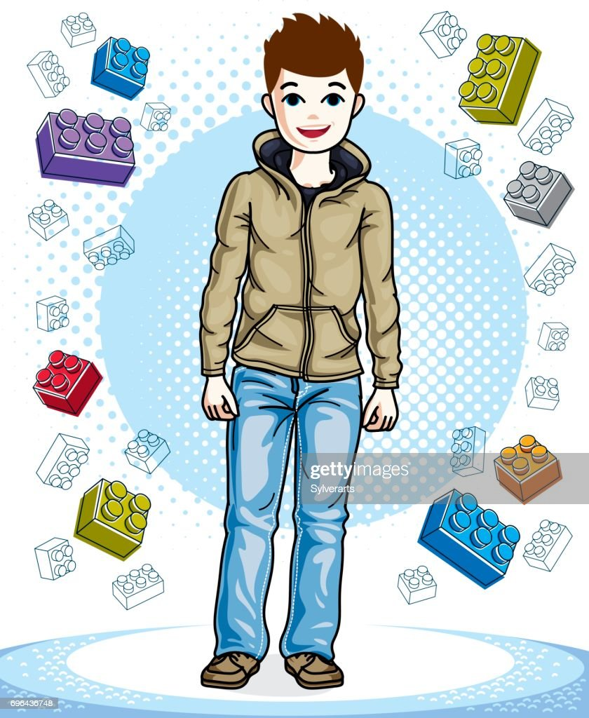 Cute little teen boy standing wearing fashionable casual clothes. Vector kid illustration. Childhood lifestyle cartoon.