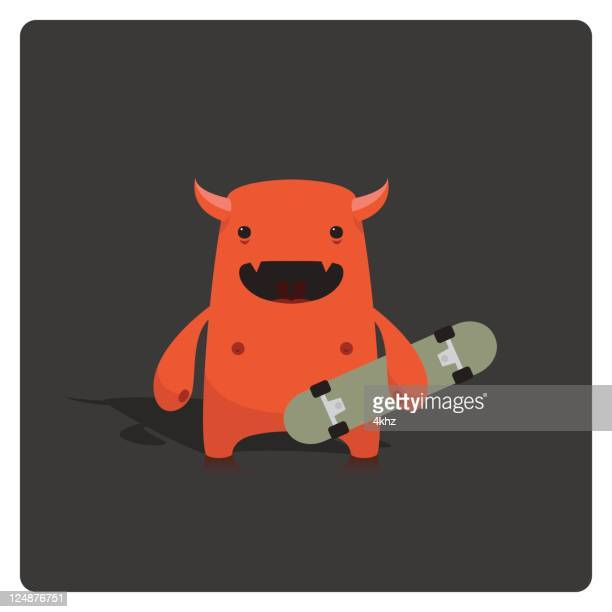 Cute Little Vector Devil Skater Character Holding Skateboard