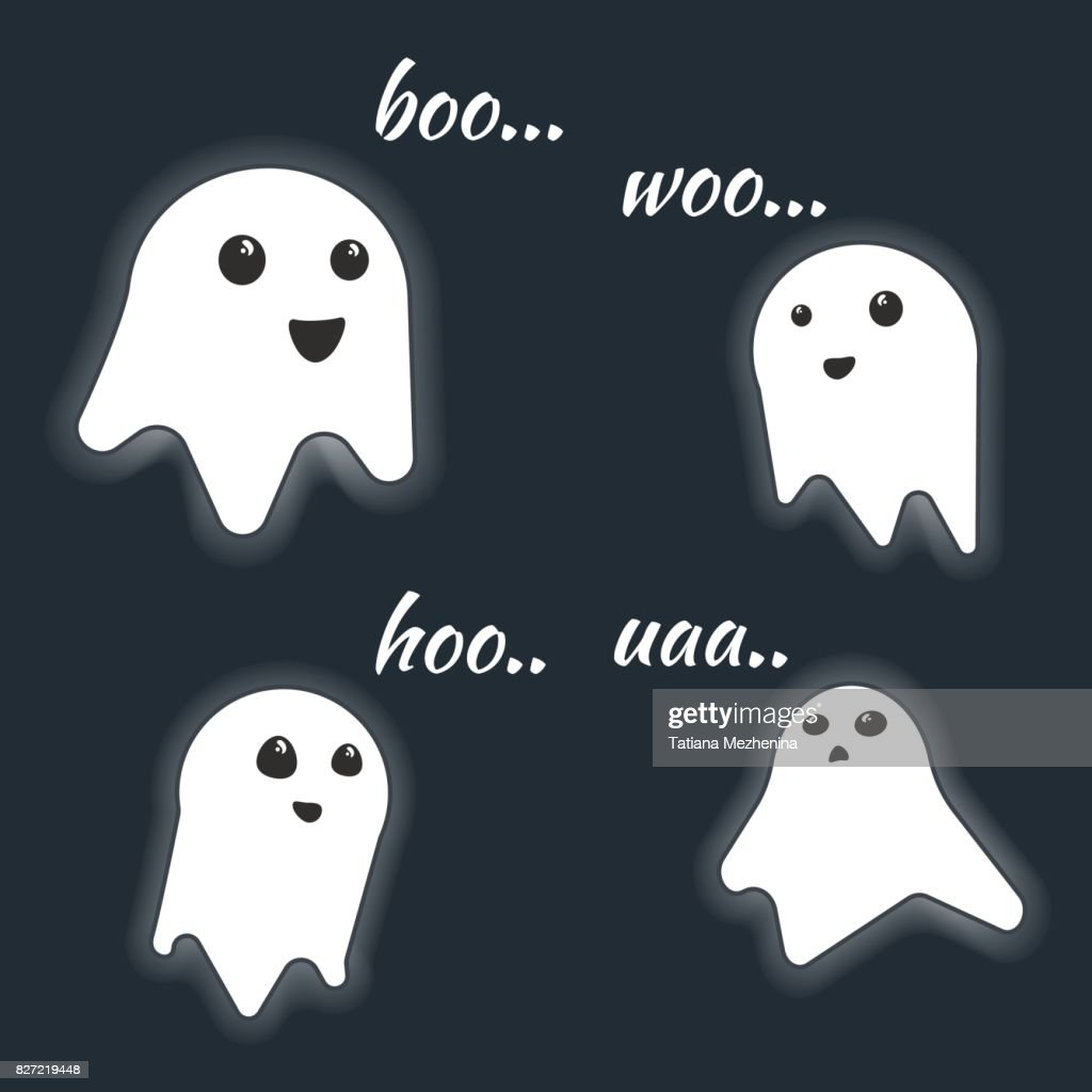 Cute little vector luminous screaming ghost characters with scream text