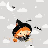 Cute little witch in halloween illustration vector