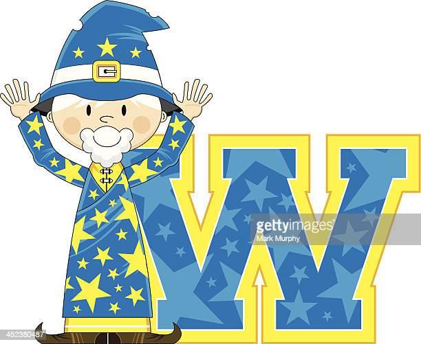 Cute Little Wizard Learning Letter W