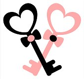 cute lovely black white pink key with heart romantic vector illustration isolated on white background
