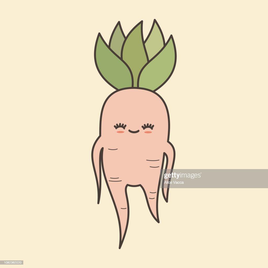 cute lovely cartoon mandrake root vector illustration