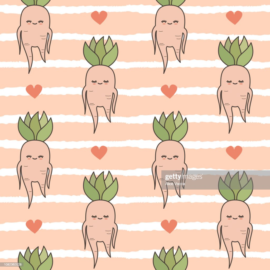 cute lovely cartoon mandrake roots illustration seamless vector pattern background