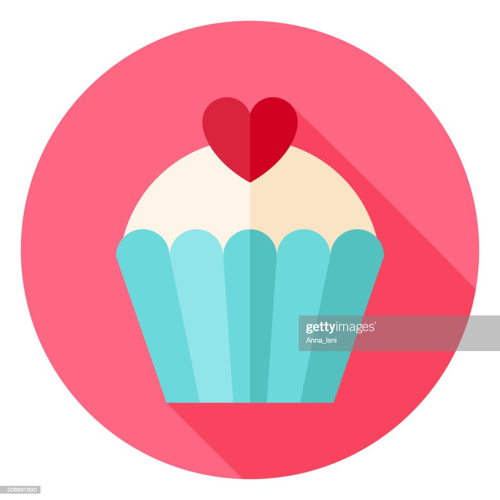Cute Lovely Cupcake with Heart Circle Icon
