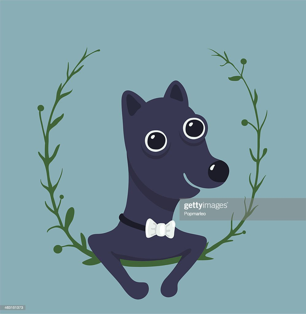 Cute Male Dog Portrait Illustration