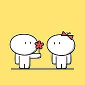 Cute man gives a flower