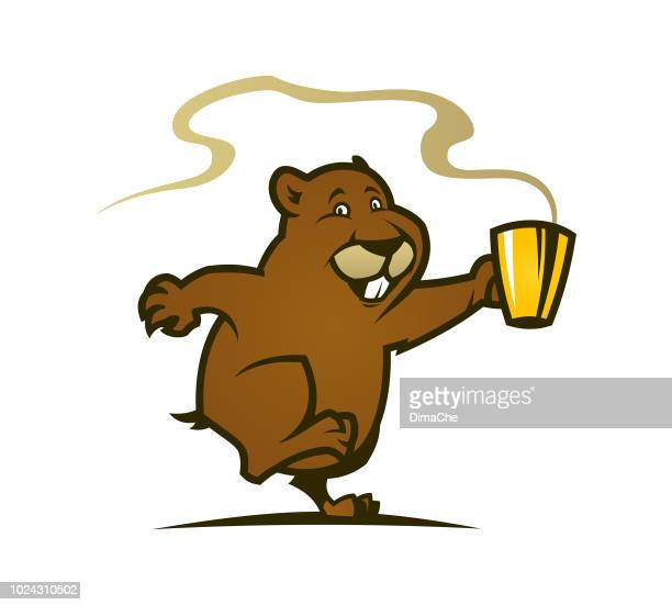 cute marmot cartoon character with cup of hot coffee or tea - funny beaver stock illustrations