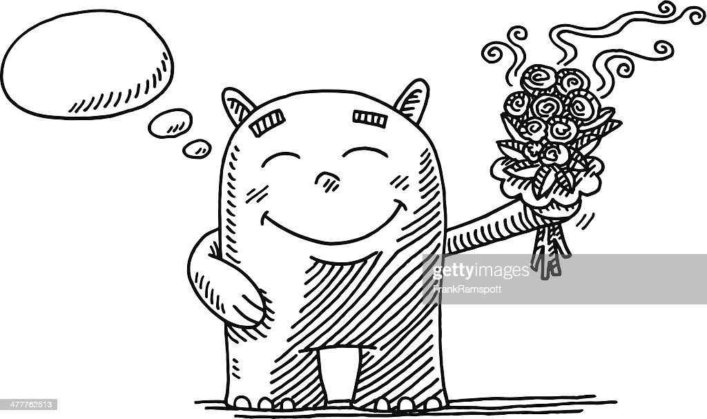 Cute Mascot Flowers Thought Bubble Drawing
