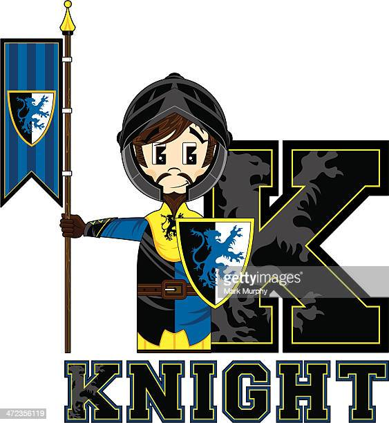 Cute Medieval Knight Learning Letter K