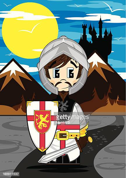 cute medieval knight scene - warrior person stock illustrations, clip art, cartoons, & icons