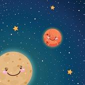 Cute Mercury and Venus in space