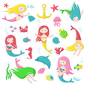 Cute mermaid icon set vector isolated illustration