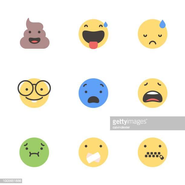 cute minimalistic emoticons - feces stock illustrations, clip art, cartoons, & icons