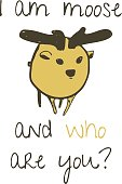Cute minimalistic moose illustration with text