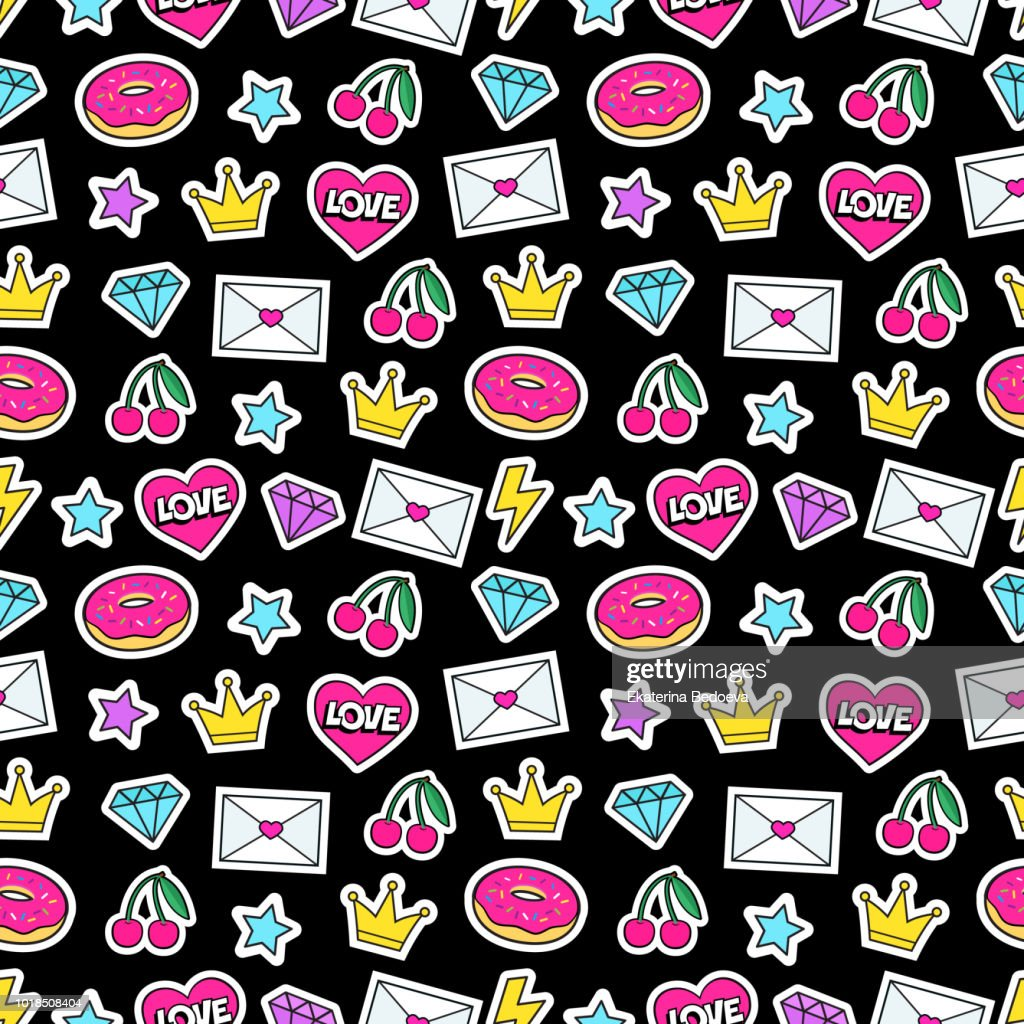 Cute modern girly seamless colorful pattern of fashion patches: crown, diamond, love letter, heart, donut, star, cherry, lightning. Background of cartoon stickers and patches.