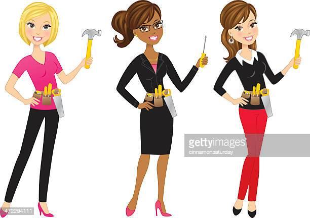 cute modern handy women - tool belt stock illustrations, clip art, cartoons, & icons