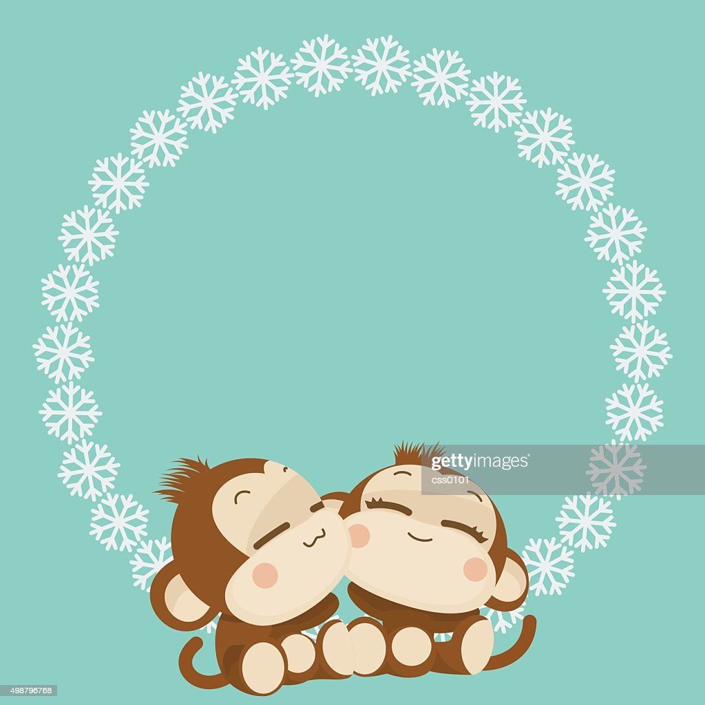 cute monkey couple happy new year 2016 vector illustration vector art