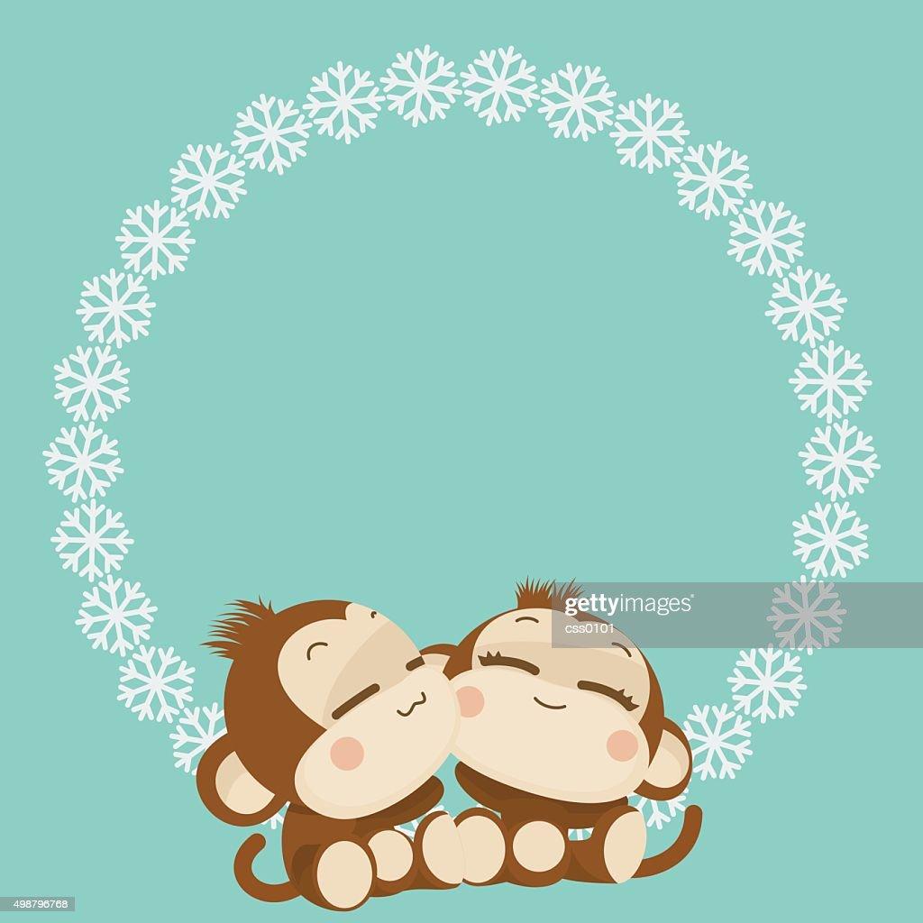 cute monkey couple happy new year 2016 vector illustration vector art