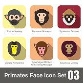 cute monkey face flat icon set