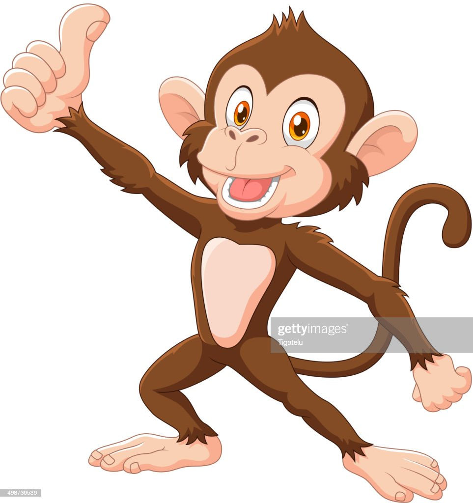 Cute monkey giving thumb up isolated on white background