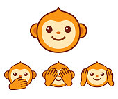 Cute monkey icons