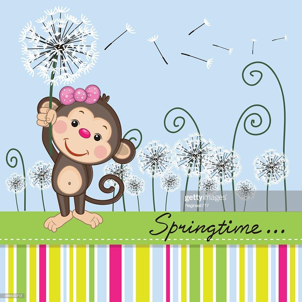 Cute Monkey with dandelion