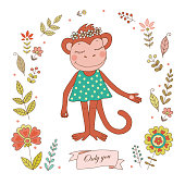 Cute monkey with vintage frame for your design in doodle style