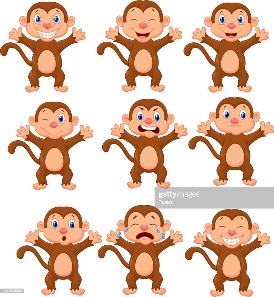 Cute monkeys cartoon in various expression Cute monkeys cartoon in various expression