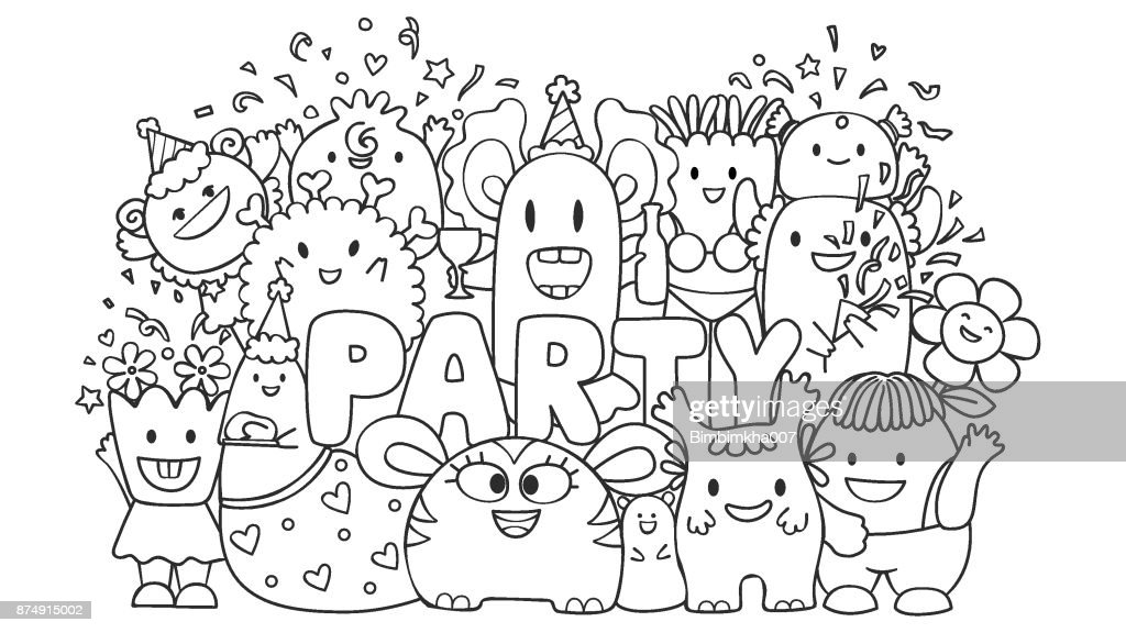 Cute monster in party