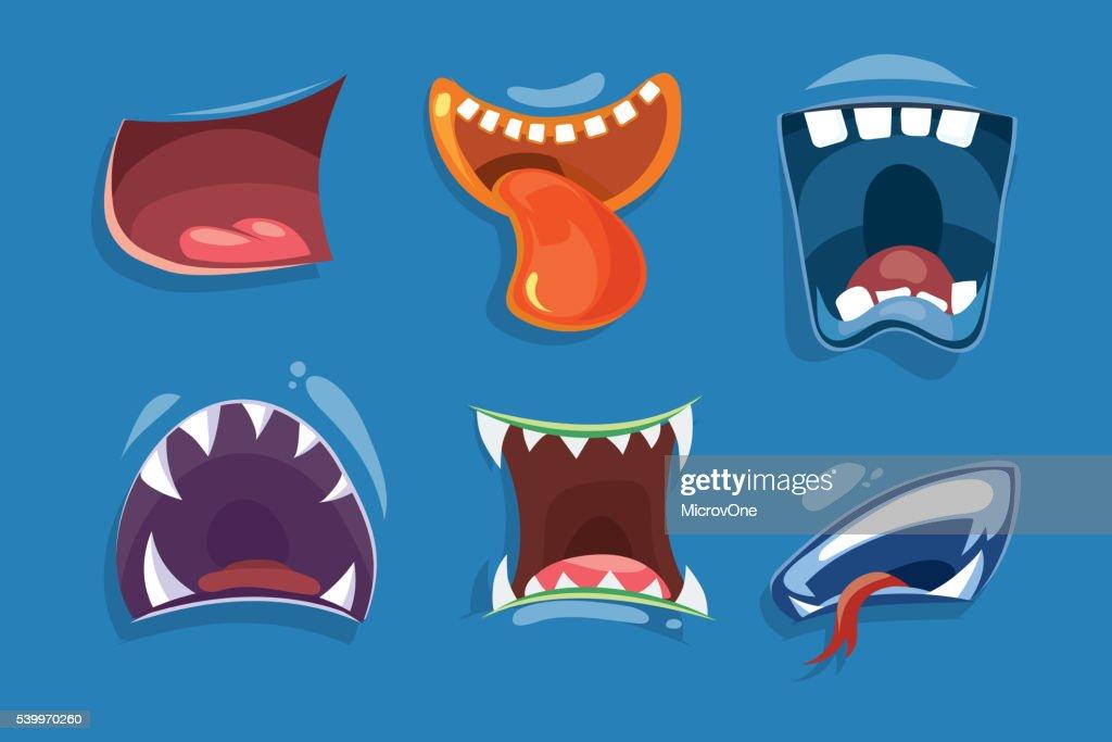 Niedlich Monster Mund Vektorset Vektorgrafik | Getty Images