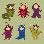 Cute monster set. Children in monster costumes